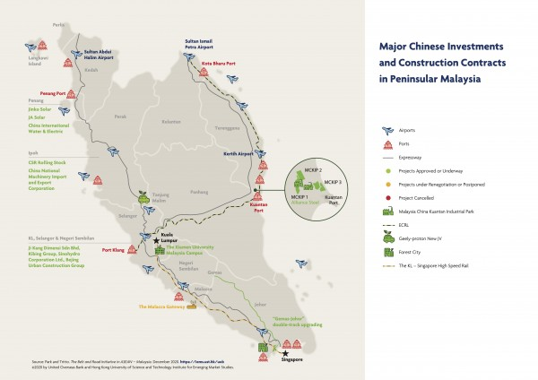 Major Chinese Investments and Construction Contracts in Peninsular Malaysia (map and infographic)